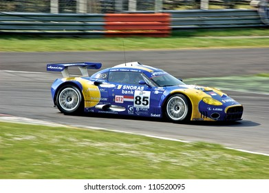 MONZA, ITALY - APRIL 27: Spyker C8 Laviolette GT2-R driven by Peter Dumbreck, Ralf Kelleners and Alexei Vasilievr racing in the 1000km of Monza. April 27, 2008 in Monza, Italy