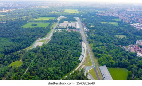 Monza, Italy - July 6, 2019: Autodromo Nazionale Monza is a race track near the city of Monza in Italy, north of Milan. Venue of the Formula 1 Grand Prix. From the air, Aerial View