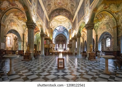 Monza, Italy - March 27, 2018: The extraordinary paintings and decorations of the nave of the Cathedral