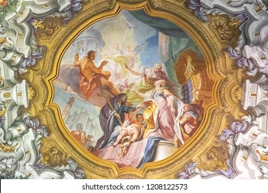 Monza, Italy - March 27, 2018: Detail of the extraordinary paintings and decorations of the ceiling of the Cathedral