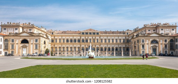 Monza, Italy - March 27, 2018: View of the main facade of the Royal villa