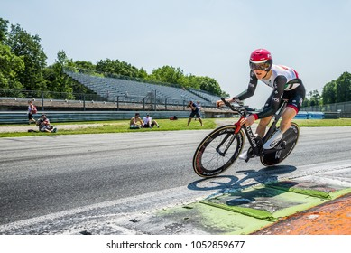 Monza, Italy May 28, 2017: Professional cyclist, UAE TEAM, during the last time trial stage of the Tour of Italy 2017, with a lap of the Formula 1 circuit of Monza and arrival in Milan.