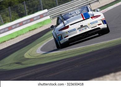 Monza, Italy - May 30, 2015: Porsche 911 GT3 Cup of Antonelli Motorsport team, driven  by AGOSTINI Riccardo during the Porsche Carrera Cup Italia - Race in Autodromo Nazionale di Monza Circuit