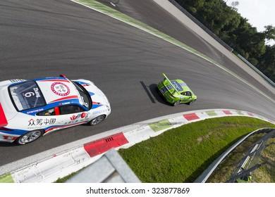 Monza, Italy - May 30, 2015: Porsche 911 GT3 Cup of Dinamic Motorsport team, driven  by DE GIACOMI Alex during the Porsche Carrera Cup Italia - Race in Autodromo Nazionale di Monza Circuit
