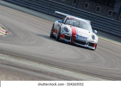 Monza, Italy - May 30, 2015: Porsche 911 GT3 Cup of Antonelli Motorsport - Centro Porsche Padova team, driven  by Angelo Proietti during the Porsche Carrera Cup Italia