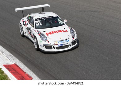 Monza, Italy - May 30, 2015: Porsche 911 GT3 Cup of LEM Racing team, driven  by Walter Ben during the Porsche Carrera Cup Italia - Race in Autodromo Nazionale di Monza Circuit