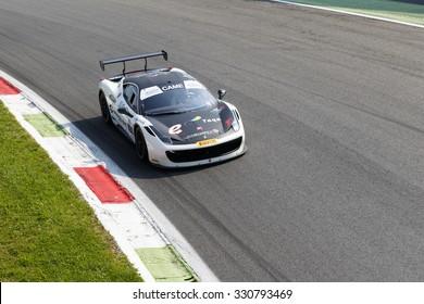 Monza, Italy - May 30, 2015: Ferrari 458 Challenge of Caso team, driven  by DEL PRETE Sossio - CASO Dario during the C.I. Granturismo - Race in Autodromo Nazionale di Monza Circuit
