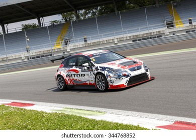Monza, Italy - May 30, 2015: SEAT Leon Cup Racing of MM Motorsport team driven  by BETTERA Enrico  during the Seat Leon Cup - Race in Autodromo Nazionale di Monza Circuit on May 30, 2015 in Monza.