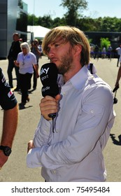 MONZA, ITALY - SEPTEMBER 11 : Petronas Mercedes Racing Team Driver, Nick Heidfeld is giving an interview during the Formula One 2010 at Monza circuit. September 11, 2010 in Monza, Italy