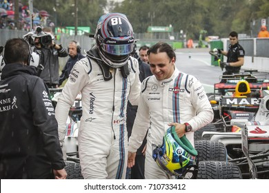 Monza, Italy. September 2, 2017. F1 Grand Prix of Italy. The team mates Lance Stroll and Felipe Massa, Williams.