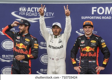 Monza, Italy. September 2, 2017. F1 Grand Prix of Italy. Lewis Hamilton, Mercedes, between Daniel Ricciardo and Max Verstappen, Red Bull, get the pole position.