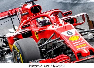 Monza, Italy. September 2, 2018. Grand Prix of Italy. F1 World Championship 2018. Sebastian Vettel, Ferrari.