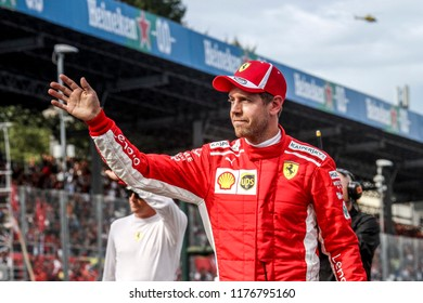 Monza, Italy. September 2, 2018. Grand Prix of Italy. F1 World Championship 2018. Sebastian Vettel, Ferrari.
