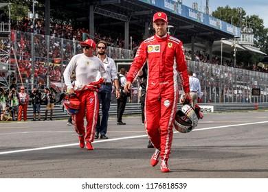 Monza, Italy. September 2, 2018. Grand Prix of Italy. F1 World Championship 2018. Sebastian Vettel and Kimi Raikkonen, Ferrari, after qualify.