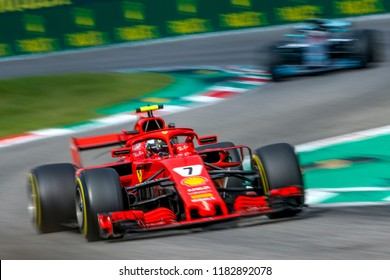 Monza, Italy. September 2, 2018. Grand Prix of Italy. F1 World Championship 2018. Kimi Raikkonen, Ferrari.
