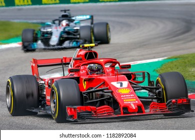 Monza, Italy. September 2, 2018. Grand Prix of Italy. F1 World Championship 2018. Kimi Raikkonen, Ferrari.