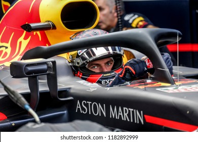 Monza, Italy. September 2, 2018. Grand Prix of Italy. F1 World Championship 2018. Max Verstappen, Red Bull, get out of garage.