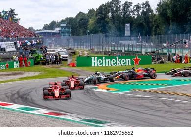 Monza, Italy. September 2, 2018. Grand Prix of Italy. F1 World Championship 2018. Start of grand prix with Raikkonen leading Vettel and Hamilton.