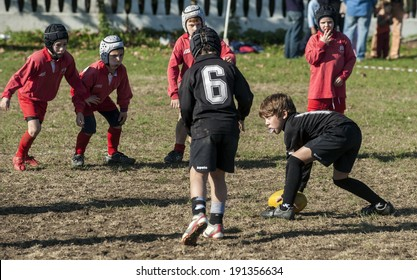 MONZA, ITALY-OCTOBER 25, 2009: young rugby players during a children rugby tournament, in Monza.