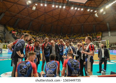 MONZA, IYALY - APRIL 07, 2019 - VERO VOLLEY MONZA V SIR SAFETY PERUGIA VOLLEY - 2019 PLAYOFF QUARTER FINALS LEGAVOLLEY A1 MEN ITALY