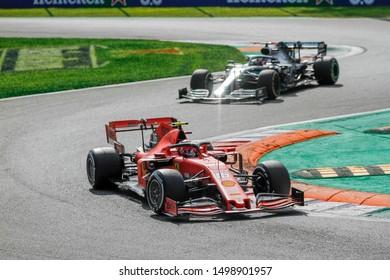 Monza (MB), Italy, September 08 2019 CHARLES LECLERC (MON) SCUDERIA FERRARI SF90; LEWIS HAMILTON (GBR) MERCEDES AMG F1 W10  during Grand Prix Heineken Of Italy 2019 - Sunday - Gara  Formula 1 Champio