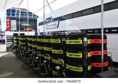 MONZA - SEPTEMBER 11: Racing car tire covers in the paddock on september 11, 2010 in monza, italy, formula 1