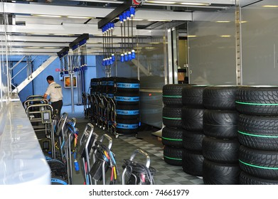 MONZA - SEPTEMBER 11: Racing car tires with heat covers in the paddock on September 11, 2010 in monza, italy, formula 1