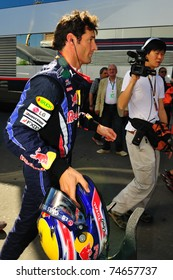 MONZA - SEPTEMBER 11: Red Bull Racing Team Driver, Mark Webber of Australia finished the practice when his car broke down on september 11, 2010 in monza, italy, formula 1