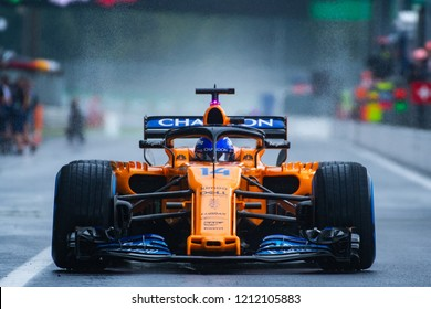 Monza/Italy 08/31/2018  Fernando Alonso in his McLaren MCL33 during the opening practice at the very wet and cold Monza circuit ahead of the 2018 Italian Grand Prix.