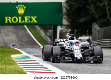 Monza/Italy 08/31/2018  Lance Stroll (CAN) in his Williams FW41 at the Ascari chicane during the afternoon practice ahead of the 2018 Italian Grand Prix at Monza.