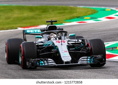 Monza/Italy 08/31/2018  Lewis Hamilton (GBR) in his Mercedes W09 at the Ascari chicane during the afternoon practice ahead of the 2018 Italian Grand Prix at Monza.