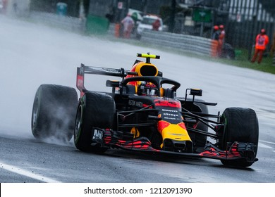 Monza/Italy 08/31/2018  Max Verstappen in his Red Bull Racing RB14 during the opening practice at the very wet and cold Monza circuit ahead of the 2018 Italian Grand Prix.