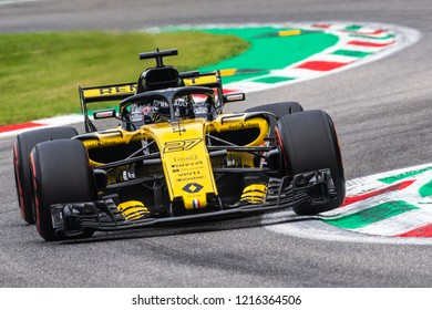 Monza/Italy 08/31/2018  Nico Hulkenberg at the Ascari chicane during the afternoon practice ahead of the 2018 Italian Grand Prix at Monza.