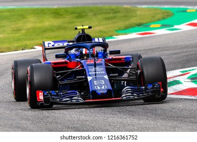 Monza/Italy 08/31/2018  Pierre Gasly (FRA) in his Toro Rosso STR13 at the Ascari chicane during the afternoon practice ahead of the 2018 Italian Grand Prix at Monza.