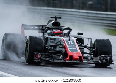 Monza/Italy 08/31/2018  Romain Grosjean (FRA) in his HAAS RVF-18 during the opening practice at the very wet and cold Monza circuit ahead of the 2018 Italian Grand Prix.