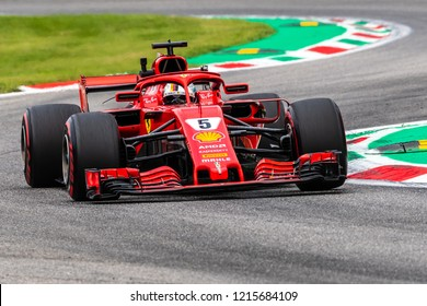 Monza/Italy 08/31/2018  Sebastian Vettel (GER) in his Ferrari SF71-H at the Ascari chicane during the afternoon practice ahead of the 2018 Italian Grand Prix at Monza.