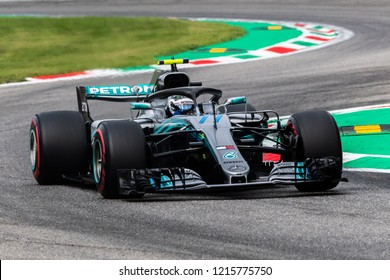 Monza/Italy 08/31/2018  Valtteri Bottas (FIN) in his Mercedes W09 at the Ascari chicane during the afternoon practice ahead of the 2018 Italian Grand Prix at Monza.