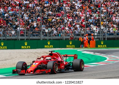 Monza/Italy - 09/01/2018  4-time World Champion Sebastian Vettel in his Ferrari SF71-H rushing through the Ascari chicane during the qualifying session ahead of the 2018 Italian Grand Prix at Monza.