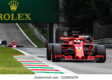 Monza/Italy - 09/01/2018 Ferrari teammates Sebastian Vettel (GER) and Kimi Raikkonen (FIN) approach the Ascari chicane during the qualifying session ahead of the 2018 Italian Grand Prix at Monza.