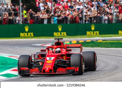 Monza/Italy - 09/01/2018  Four-times world champion Sebastian Vettel (GER) rushing through the Ascari chicane in his Ferrari SF71-H during the qualifying session ahead of the 2018 Italian Grand Prix.