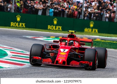 Monza/Italy - 09/01/2018  Kimi Raikkonen (FIN) in his Ferrari SF71-H rushing through the Ascari chicane during the qualifying session ahead of the 2018 Italian Grand Prix at Monza.
