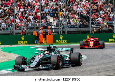 Monza/Italy - 09/01/2018  Title rivals Lewis Hamilton (GBR) and Sebastian Vettel (GER) rushing through the Ascari chicane during the qualifying session ahead of the 2018 Italian Grand Prix at Monza.