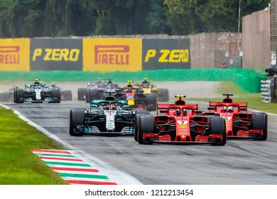 Monza/Italy - 09/02/2018  The start of the Italian Grand Prix - Kimi Raikonnen leading into the Roggia chicane. Behind him title contenders are fighting for position briefly before colliding.