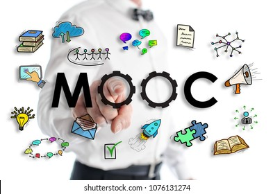 Mooc concept shown by a man in background