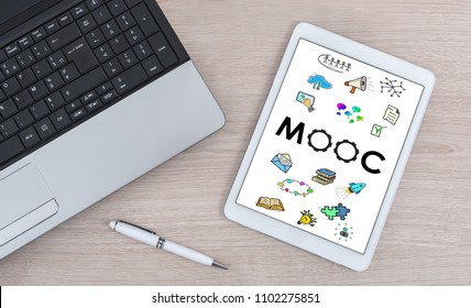Mooc concept shown on a digital tablet