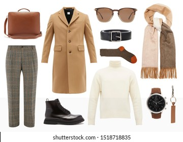 mood board fashion clothes, outfit, clothes collage, set of fashionable clothes and accesories, man trendy fashion clothes collage on white