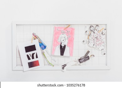 Mood board with fashion sketches and illustrations