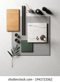 Mood board. Material samples interior design