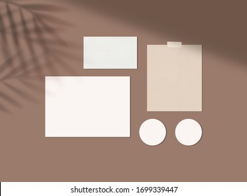 Mood Board Mock up with Leaves Shadow Stationery Mock up
