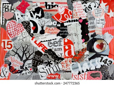 Mood board in red white and black With hearts